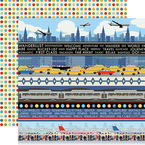 Passport Collection Border Strips 12 x 12 Double-Sided Scrapbook Paper by Carta Bella Paper
