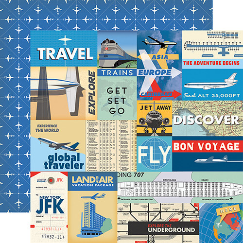 Passport Collection Multi Journaling Cards 12 x 12 Double-Sided Scrapbook Paper by Carta Bella Paper