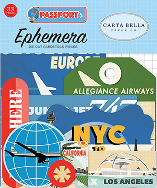 Passport Collection Passport 4 x 4 Scrapbook Ephemera Die Cuts by Carta Bella Paper