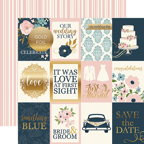Just Married Collection 3x4 Journaling Cards -Foiled 12 x 12 Double-Sided Scrapbook Paper by Echo Park Paper