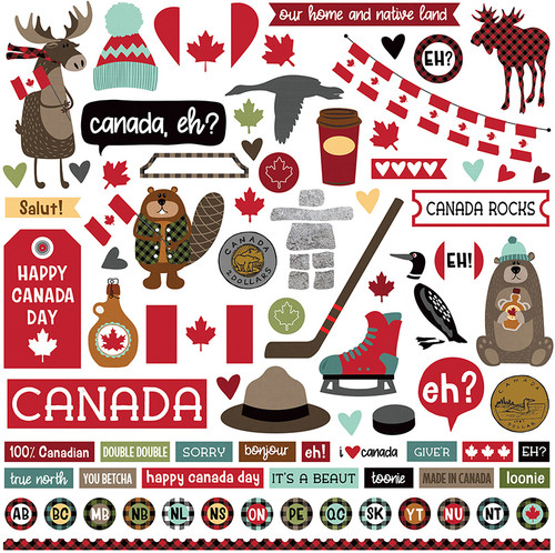 O Canada Collection O Canada 12 x 12 Scrapbook Sticker Sheet by Photo Play Paper