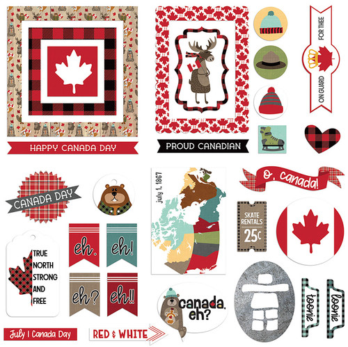 O Canada Collection Ephemera 5 x 5 Scrapbook Die Cuts by Photo Play Paper