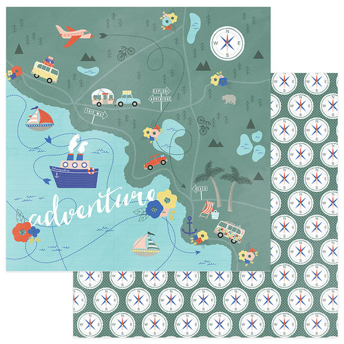 Let's Go! Collection Are We There Yet 12 x 12 Double-Sided Scrapbook Paper by Photo Play Paper