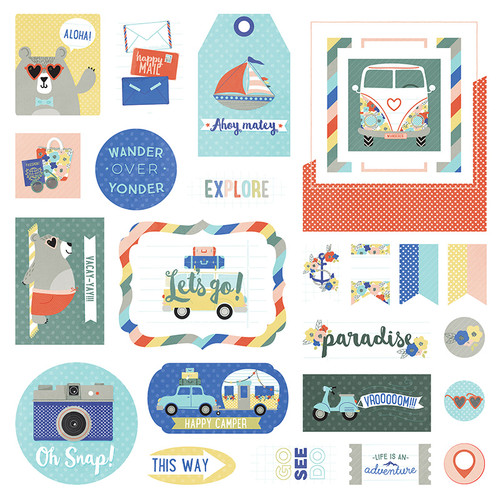 Let's Go! Collection Let's Go! Ephemera 5 x 5 Scrapbook Die Cuts by Photo Play Paper