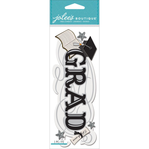 Title Waves Collection Grad 3 x 7 Scrapbook Embellishment by EK Success