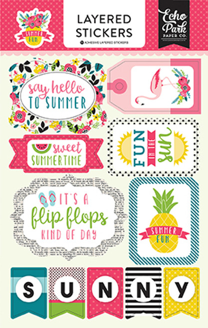 Summer Fun Collection Layered Sticker Embellishments by Echo Park Paper