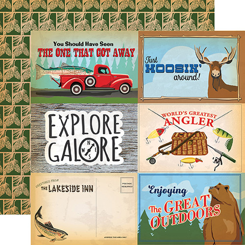 Gone Camping Collection 4 x 6 Journaling Cards 12 x 12 Double-Sided Scrapbook Paper by Carta Bella