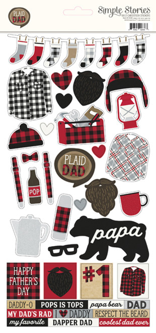 Plaid Dad Collection 6 x 12 Scrapbook Cardstock Sticker Sheet by Simple Stories