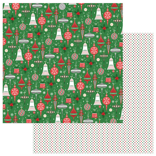 Here Comes Santa Collection Trimmings 12 x 12 Double-Sided Scrapbook Paper by Photoplay Paper