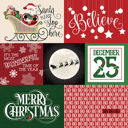Here Comes Santa Collection Stockings 12 x 12 Double-Sided Scrapbook Paper by Photoplay Paper