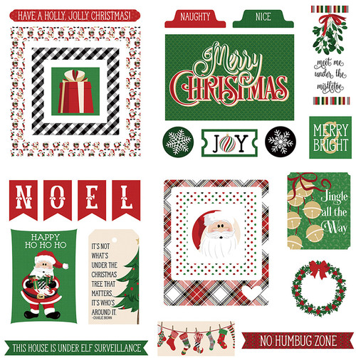 Here Comes Santa Collection Ephemera 5 x 5 Scrapbook Die Cuts by Photo Play Paper