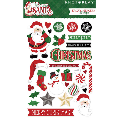 Here Comes Santa Collection 4 x 6 Epoxy Sticker Scrapbook Embellishments by Photoplay Paper
