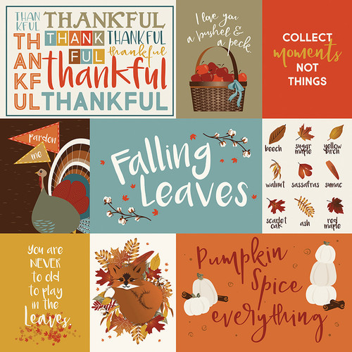 Fall Breeze Collection Thankful 12 x 12 Double-Sided Scrapbook Paper by Photo Play Paper