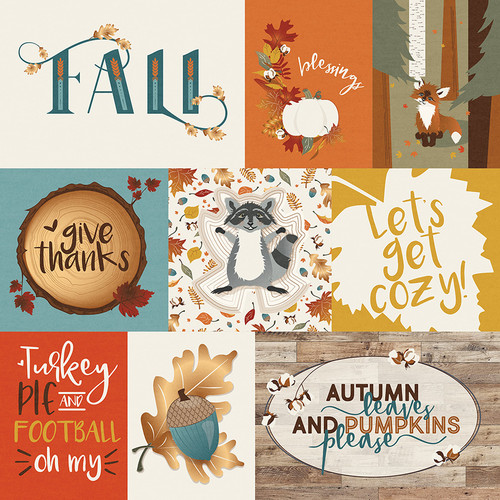 Fall Breeze Collection Let's Get Cozy 12 x 12 Double-Sided Scrapbook Paper by Photoplay Paper