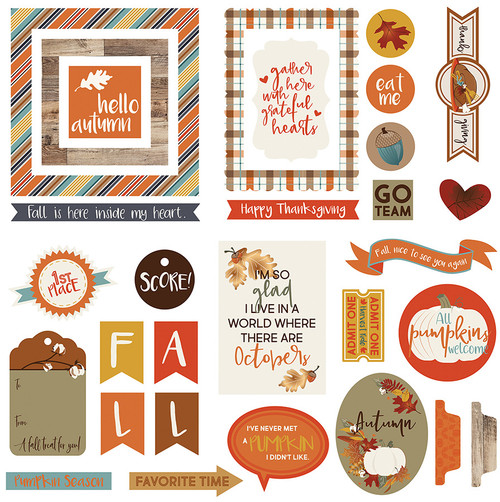 Fall Breeze Collection Ephemera 5 x 5 Scrapbook Die Cuts by Photo Play Paper