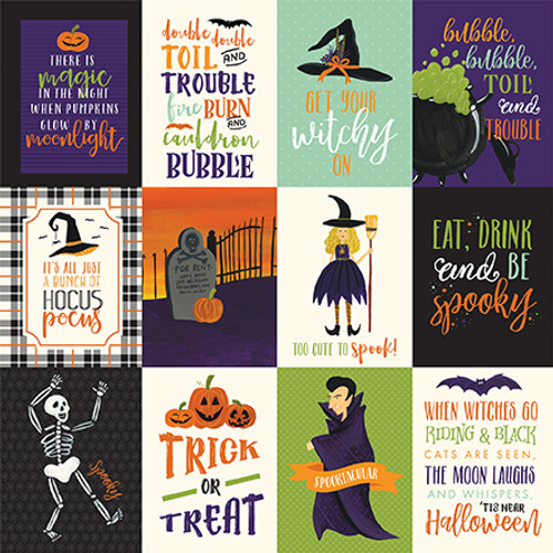Hocus Pocus Collection 3 x 4 Journaling Cards 12 x 12 Double-Sided Scrapbook Paper by Echo Park Paper