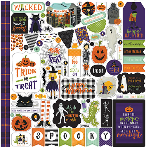 Hocus Pocus Collection Hocus Pocus Element 12 x 12 Scrapbook Sticker Sheet by Echo Park Paper