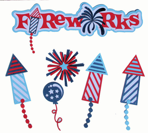 Fireworks 6-Piece Set Fully-Assembled 3 x 8 Laser Cut Scrapbook Embellishment by SSC Laser Designs (original design by Miss Kate Cuttables)