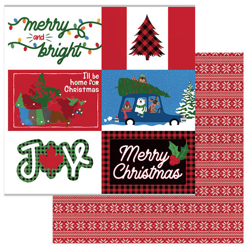 O Canada Christmas Collection Home For Christmas 12 x 12 Double-Sided Scrapbook Paper by Photo Play Paper