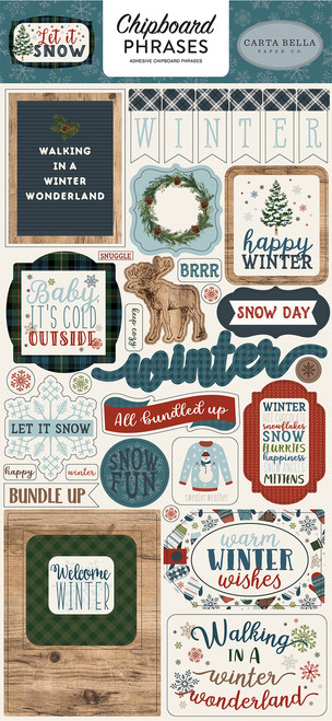 Let It Snow Collection 6 x 12 Chipboard Phrases by Carta Bella