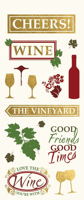 Winery Collection StickyPix 4 x 10 Clear Cuts Gold-Foiled Sticker Multi-Pack Scrapbook Embellishments by Paper House Productions