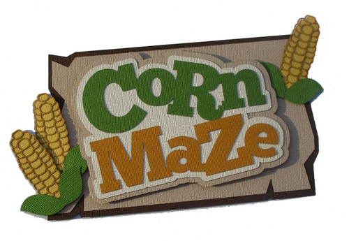 Corn Maze Title 5 x 8 & Corn Stalks 2-Piece Set Fully-Assembled Laser Cut Scrapbook Embellishment by SSC Laser Designs