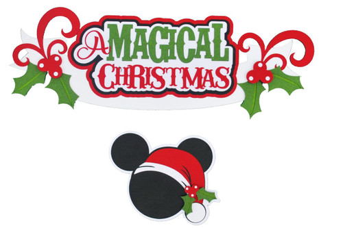 Disneyana A Magical Christmas 5 x 11 Title & Mouse Icon 2-Piece Set Fully-Assembled Laser Cut Scrapbook Embellishment by SSC Laser Designs