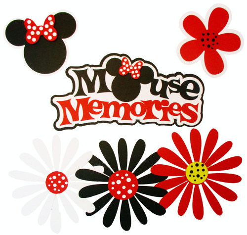 Disneyana  Mouse Memories 3 x 7 Title & 4-Piece Coordinating Fully-Assembled Laser Cut Scrapbook Embellishment by SSC Laser Designs (original design by Miss Kate Cuttables)