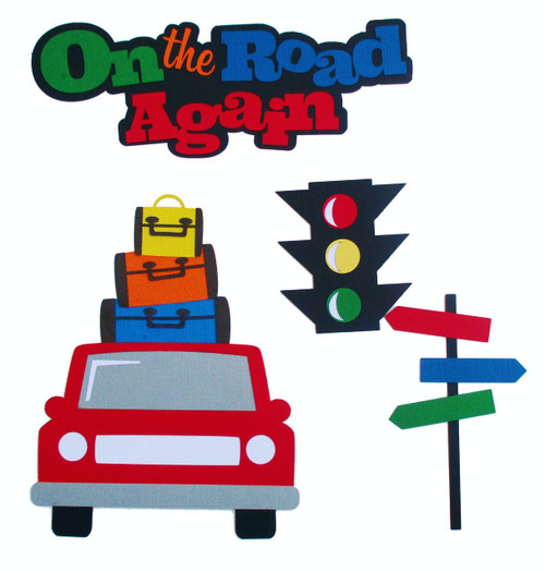 On The Road Again  3 x 7 Title, Car with Luggage, Stop Light & Street Signs 4-Piece Set Fully-Assembled Laser Cut Scrapbook Embellishment by SSC Laser Designs (original design by Miss Kate Cuttables)