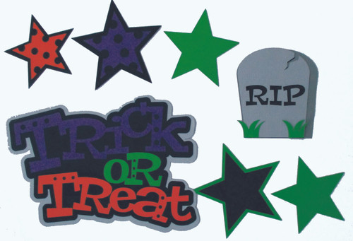 Trick or Treat 5 x 7 Title, Headstone & Stars 7-Piece Set Fully-Assembled Laser Cut Scrapbook Embellishment by SSC Laser Designs (original design by Miss Kate Cuttables)