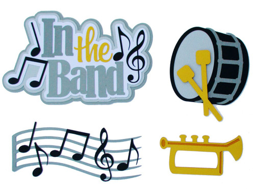 In The Band 4 x 6 Title, Trumpet, Drum & Music Notes 4-Piece Set Fully-Assembled Laser Cut Scrapbook Embellishment by SSC Laser Designs (original design by Miss Kate Cuttables)