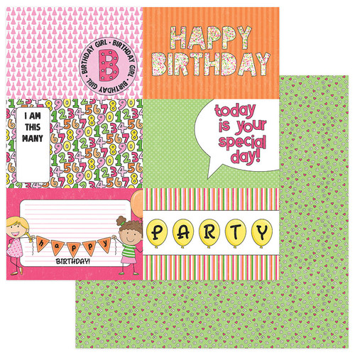 Birthday Girl Wishes Collection Birthday Girl 12 x 12 Double-Sided Scrapbook Paper by Photo Play Paper