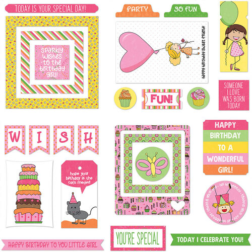 Birthday Girl Wishes Collection Ephemera 5 x 5 Scrapbook Die Cuts by Photo Play Paper
