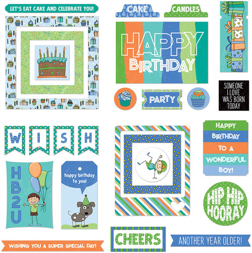 Birthday Boy Wishes Collection Ephemera 5 x 5 Scrapbook Die Cuts by Photo Play Paper