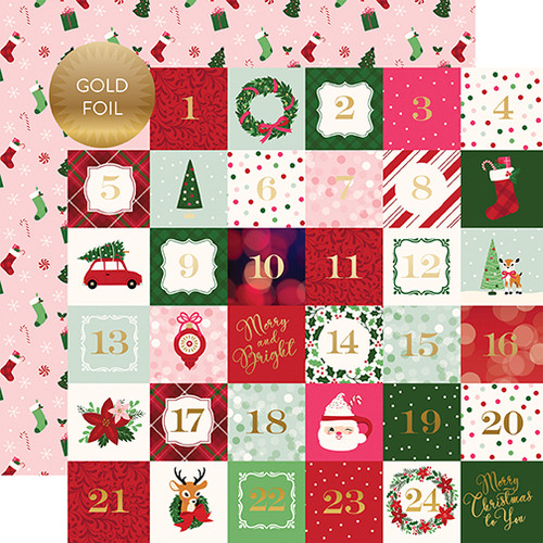 Merry and Bright Collection 2 x 2 Gold Foiled Journal Cards 12 x 12 Double-Sided Scrapbook Paper by Echo Park Paper