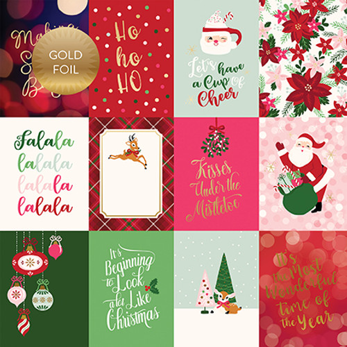 Merry and Bright Collection 3 x 4 Gold Foiled Journal Cards 12 x 12 Double-Sided Scrapbook Paper by Echo Park Paper