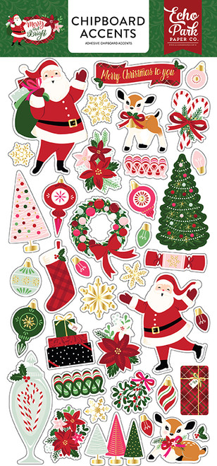 Merry and Bright Collection 6 x 12 Scrapbook Chipboard Accents by Echo Park Paper