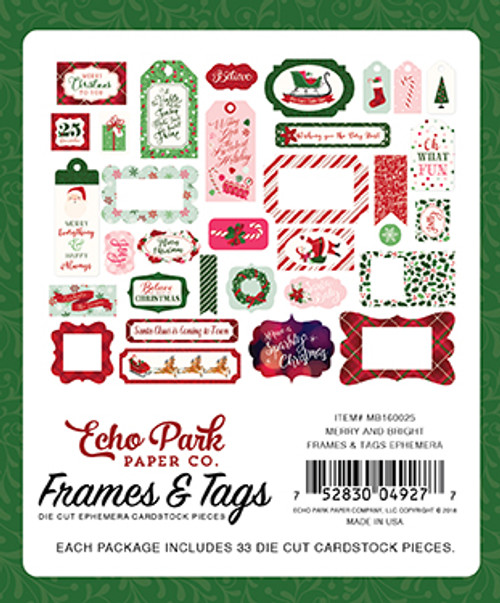 Merry and Bright Collection Frames & Tags Die Cut Ephemera Cardstock Pieces by Echo Park Paper - 33 Pieces