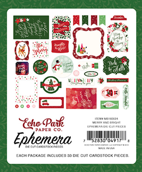 Merry and Bright Collection Ephemera Die Cut Cardstock Pieces by Echo Park Paper - 33 Pieces