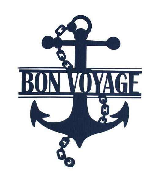Bon Voyage Ship Anchor 4.5 x 6 Title Laser Cut Scrapbook Embellishment by SSC Laser Designs