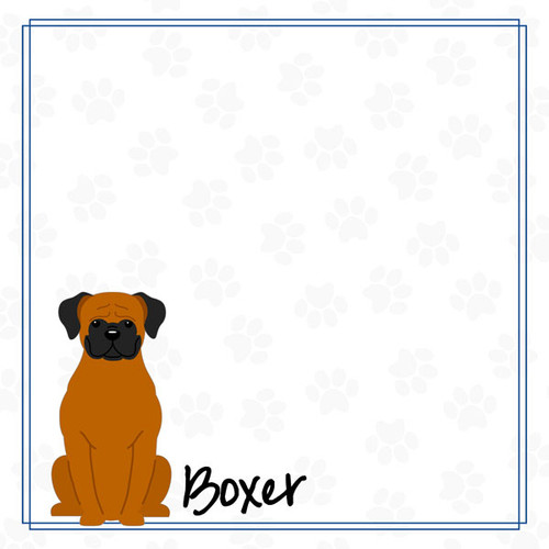 Puppy Love Collection Boxer 12 x 12 Double-Sided Scrapbook Paper by Scrapbook Customs