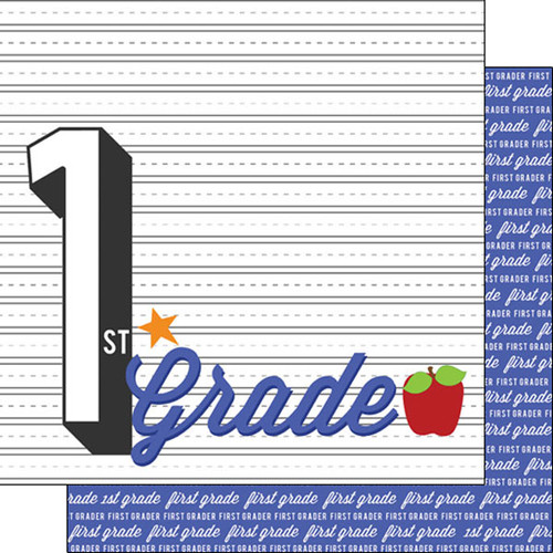 Back To School Collection First Grade 12 x 12 Double-Sided Scrapbook Paper by Scrapbook Customs
