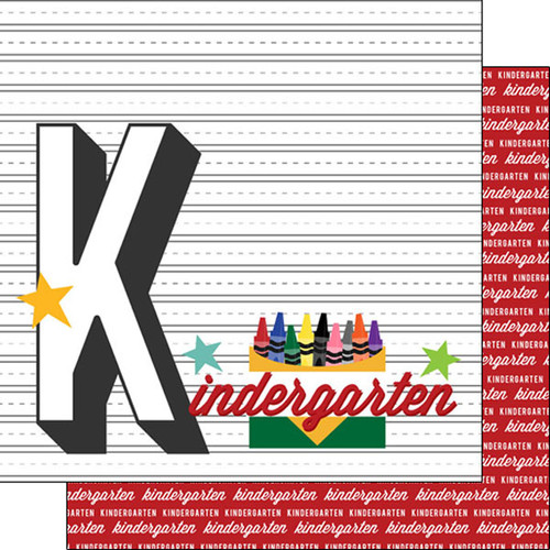Back To School Collection Kindergarten 12 x 12 Double-Sided Scrapbook Paper by Scrapbook Customs