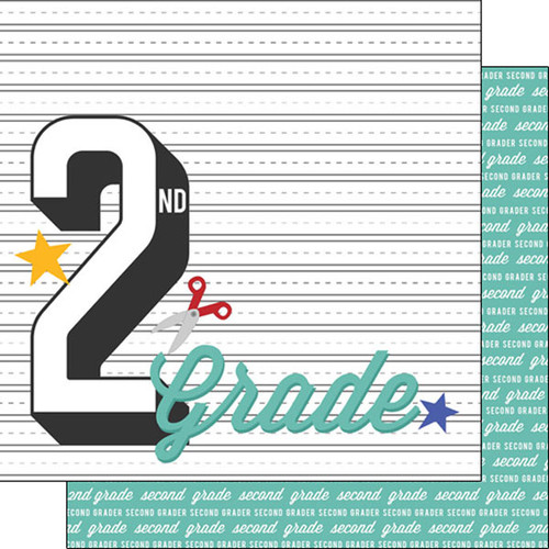 Back To School Collection Second Grade 12 x 12 Double-Sided Scrapbook Paper by Scrapbook Customs