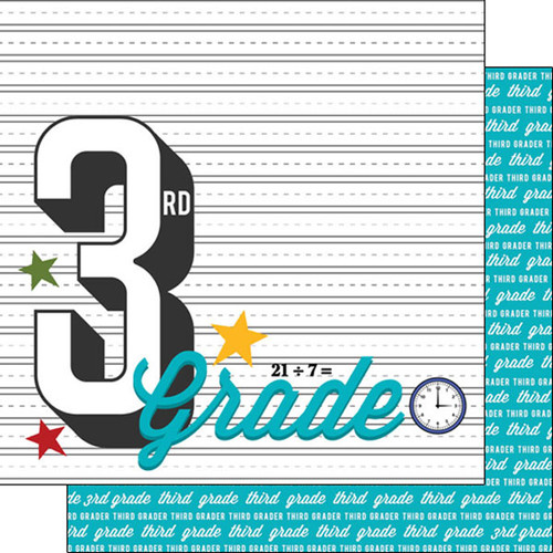 Back To School Collection Third Grade 12 x 12 Double-Sided Scrapbook Paper by Scrapbook Customs
