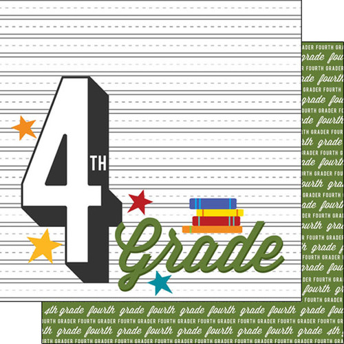 Back To School Collection Fourth Grade 12 x 12 Double-Sided Scrapbook Paper by Scrapbook Customs