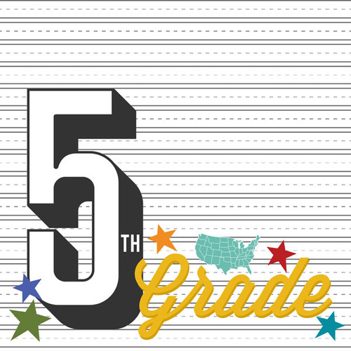 Back To School Collection Fifth Grade 12 x 12 Double-Sided Scrapbook Paper by Scrapbook Customs