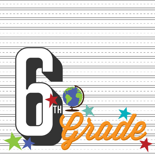 Back To School Collection Sixth Grade 12 x 12 Double-Sided Scrapbook Paper by Scrapbook Customs
