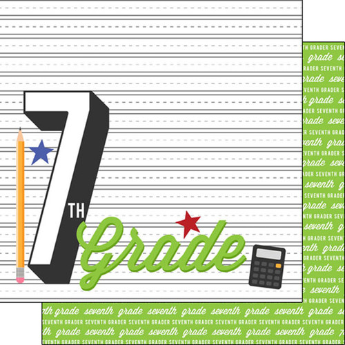 Back To School Collection Seventh Grade 12 x 12 Double-Sided Scrapbook Paper by Scrapbook Customs