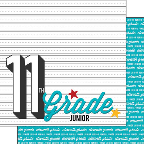 Back To School Collection Eleventh Grade 12 x 12 Double-Sided Scrapbook Paper by Scrapbook Customs